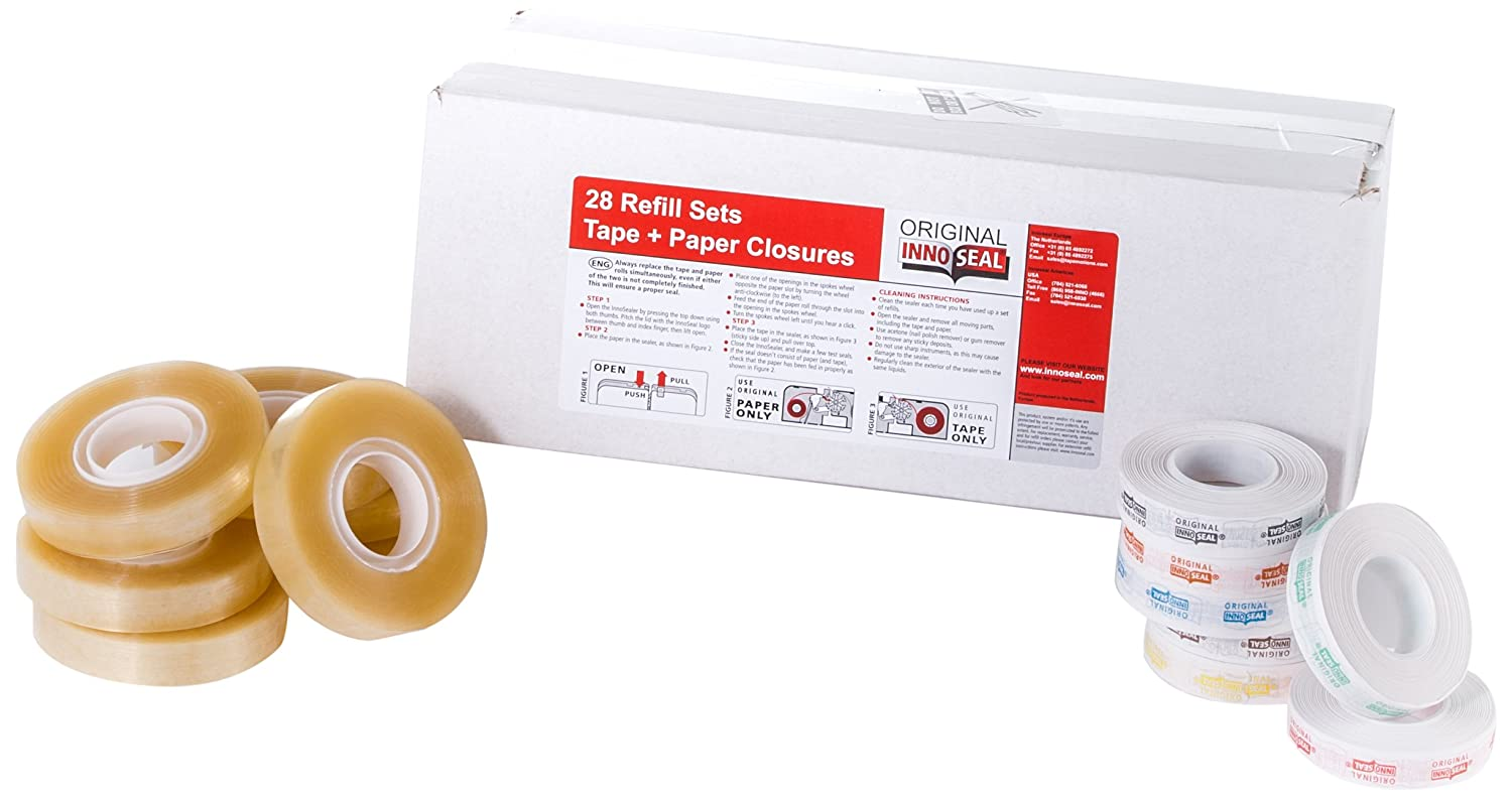 Innoseal 15945 Multi Color Refill Tape and Paper Seals, 28 Sets (Pack of 56)
