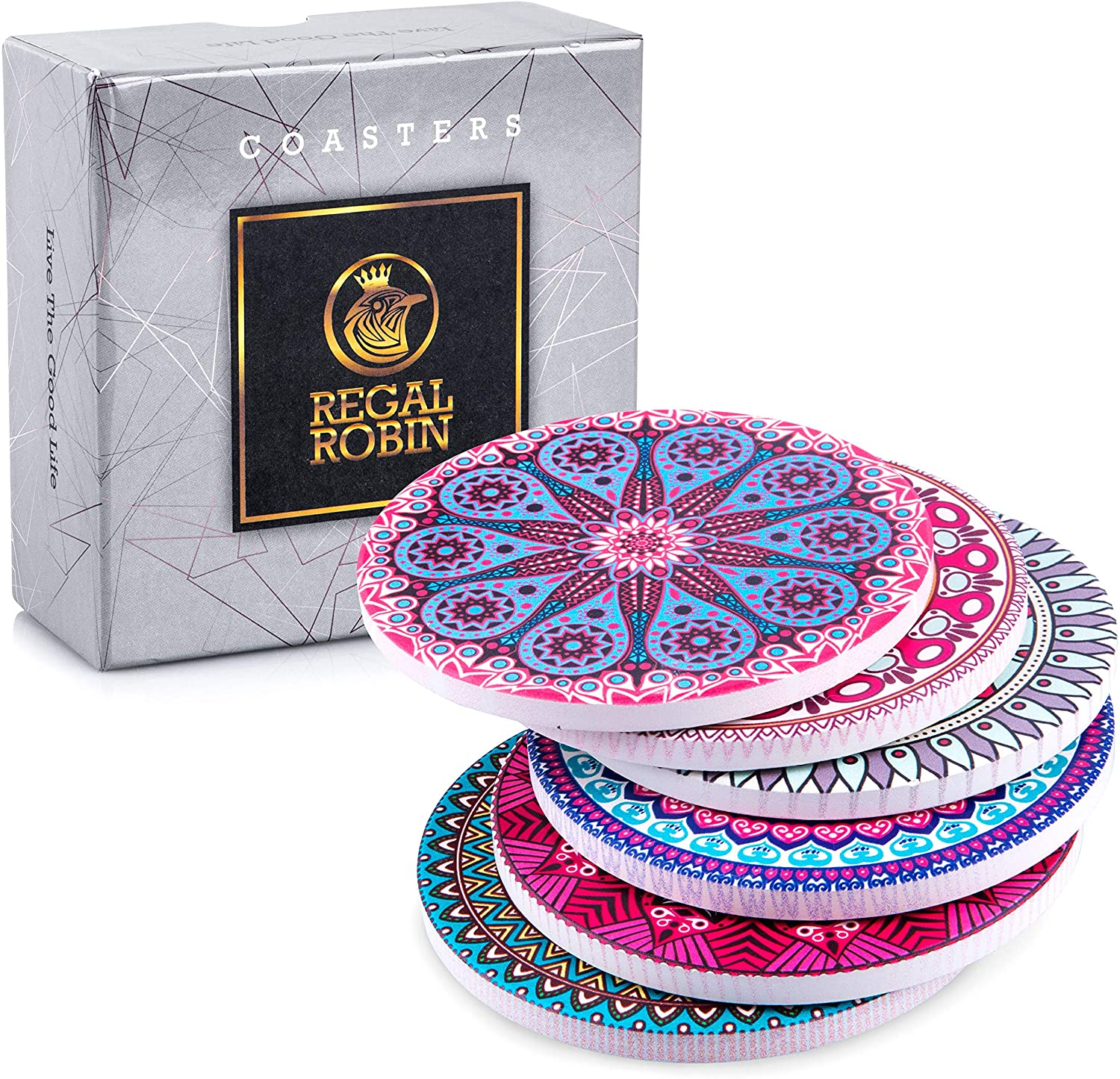 Absorbent Ceramic Mandala Coasters for Drinks: Regal Robin Drink Coaster Set - Cute 4 Inch Novelty Coasters with Cork Back for Home, Office, Restaurant - Coffee Table, Desk, Kitchen Decor - Set of 6