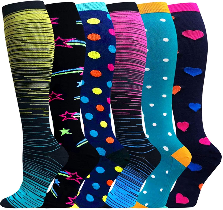 Compression Socks for Women&Men 20-30mmHg(1/3/6 PACK) - Best for Christmas, Running, Travel, Cycling, Nurse