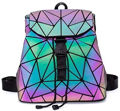 Geometric Luminous Backpack, Holographic Reflective Bag, Fashion Backpacks for Women