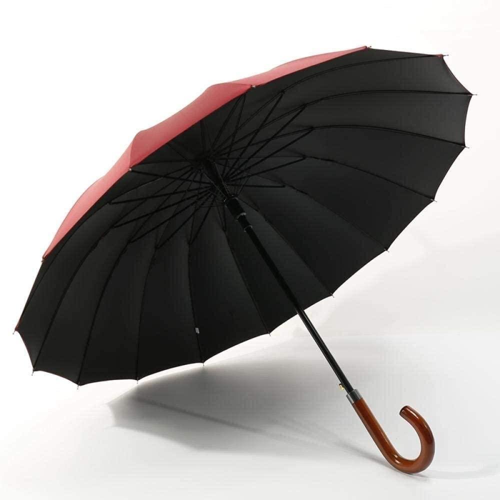 ASDF Stick Umbrellas Golf Umbrellas Black Plastic 16 Bone Long Handle Umbrella Solid Wood Handle Automatic Business Umbrella