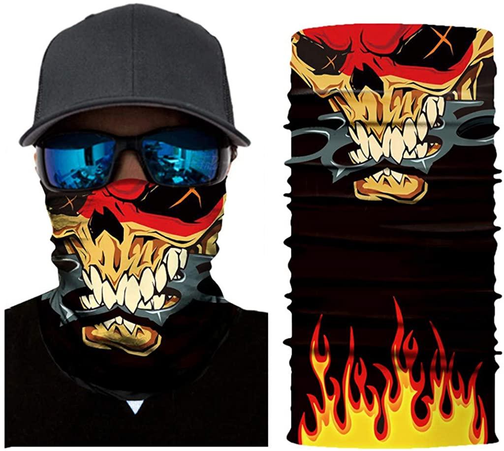 Stoota Skull Print Face Mask, Rave Bandana, Neck Gaiter, Scarf, Summer Balaclava for Dust Wind UV Protection