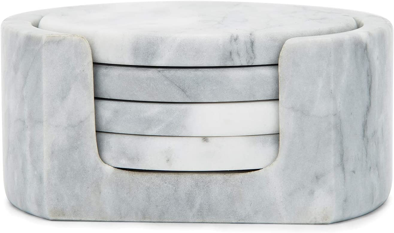 Fox Run Natural Polished Marble Stone Coasters, Set of 4, with Holder, White