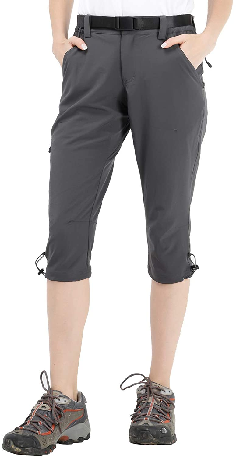 MIER Women's Hiking Capri Pants Lightweight Quick Dry Cargo Cropped Pants with 5 Pockets, Water Resistant