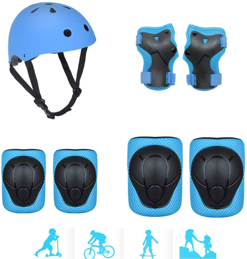 Fytoo Anti-Fall Skating Protective Gear Children's Knee Pads with Skateboard Skating Balance Car Helmet Protective Gear Set Blue
