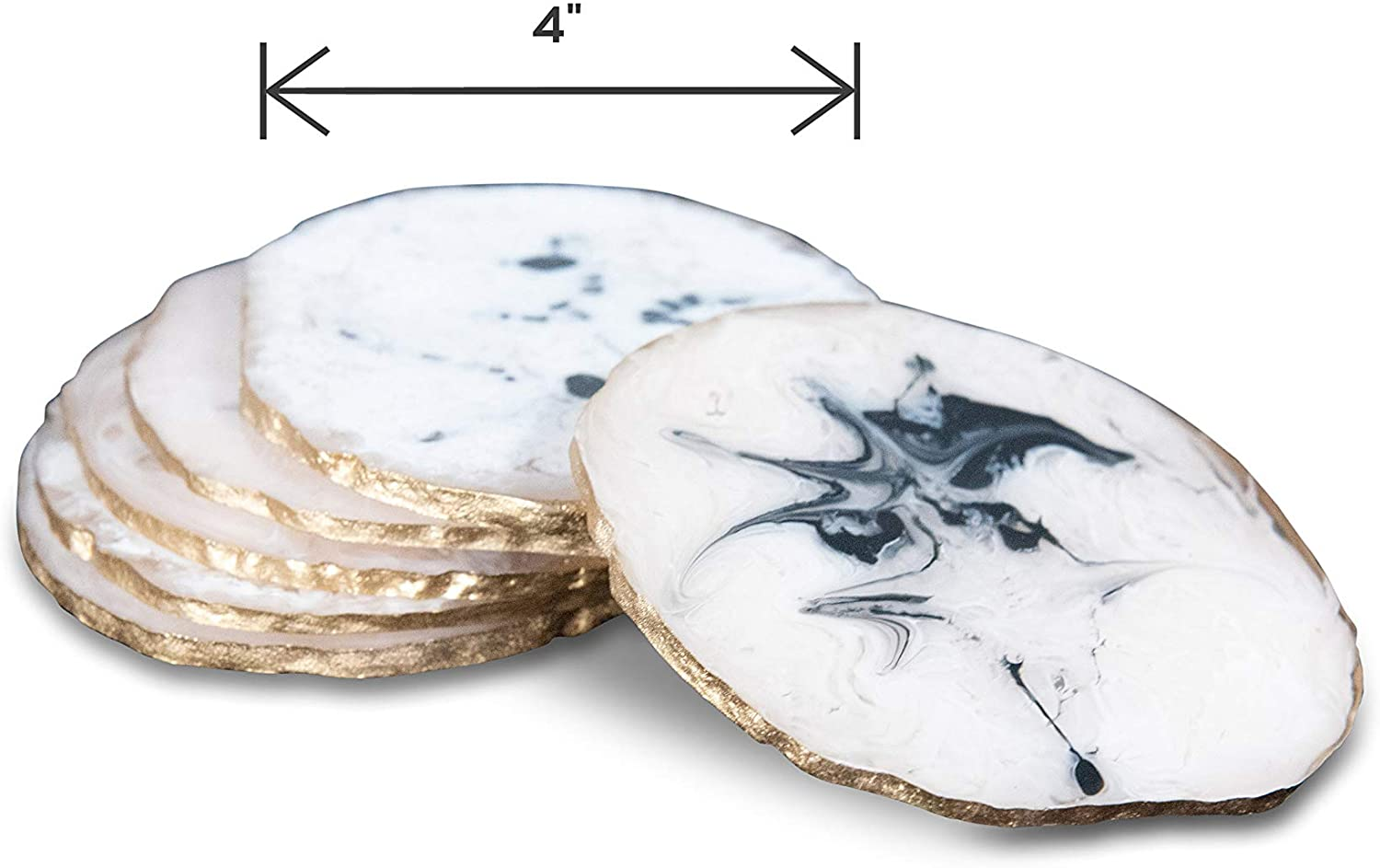 Dusto Resin Round Ivory Coaster (DH9001) | Resin Coaster for cups | Coasters for Dining Table | Unique Coasters for glass, cups, table | Dining Table Coaster Set of 6 Pcs. (WHITE).