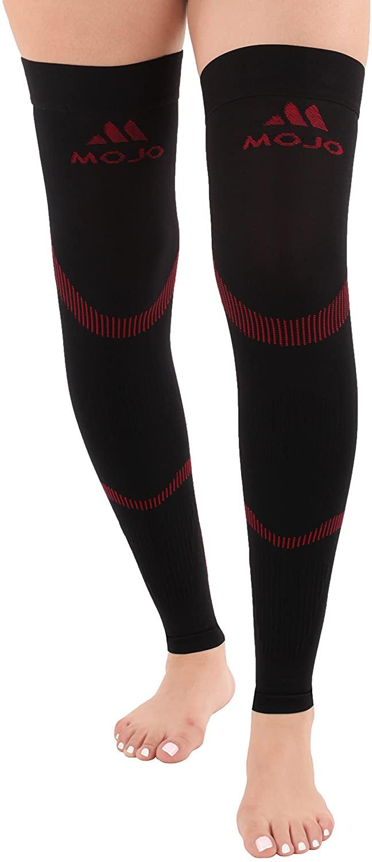 Mojo Compression Stockings Medical Thigh Leg Sleeve 20-30mmhg Black/Red Large