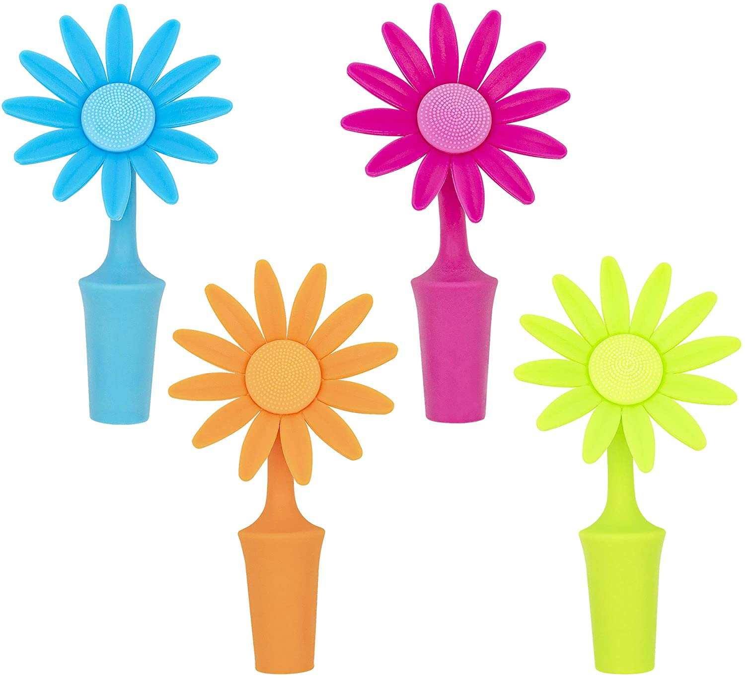 Southern Homewares Flower Bottle Stoppers 4 Pack Silicone Cork - Makes Excellent White Elephant Novelty Gift for Wine Lovers