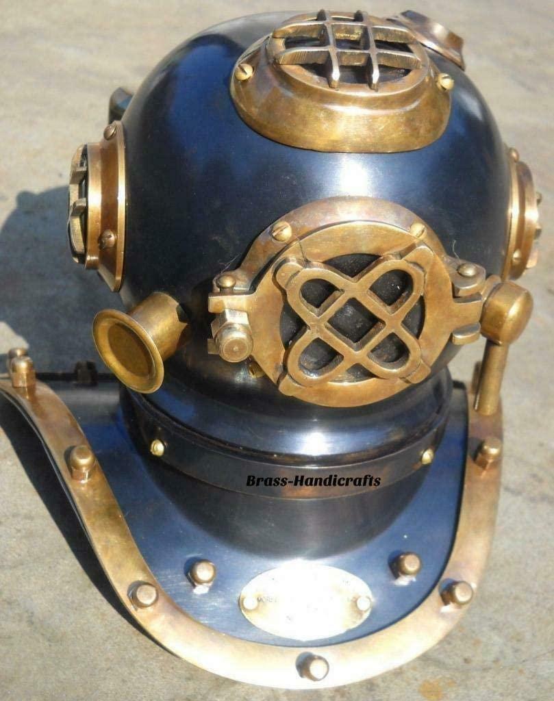 theswan Vintage Nautical Divers Helmet Collectible Brass & Steel Desktop Black Antique Finished Scuba Divers Diving Helmet