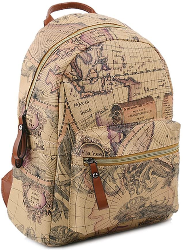 Copi Women's Map Print Pattern Collection Fashion Backpack One Size Beige