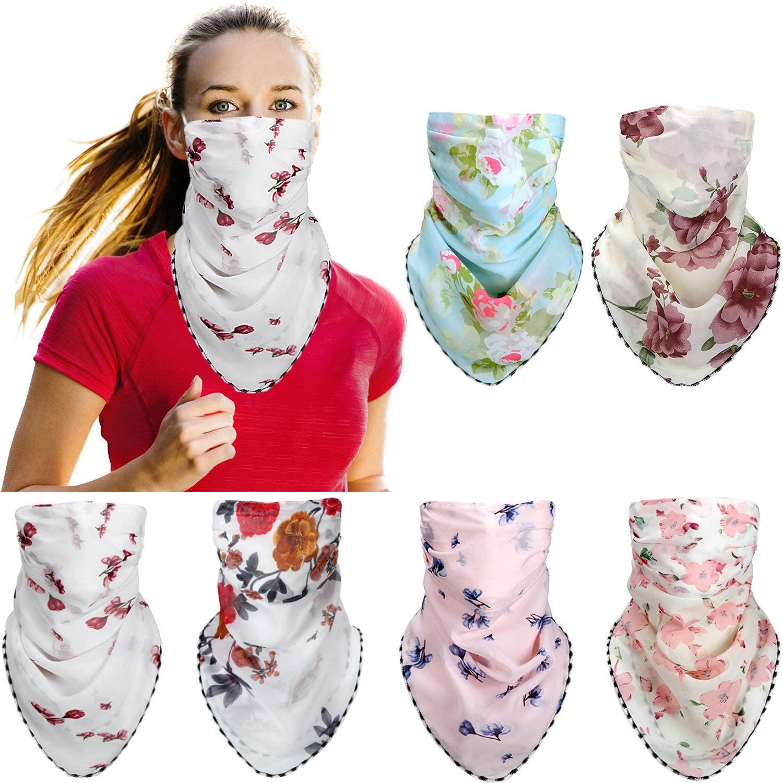 6 Pieces Women's Sun Protection Bandana Face Cover Silk Neck Scarf Lightweight Chiffon Neck Gaiter for Outdoors Sports Festivals