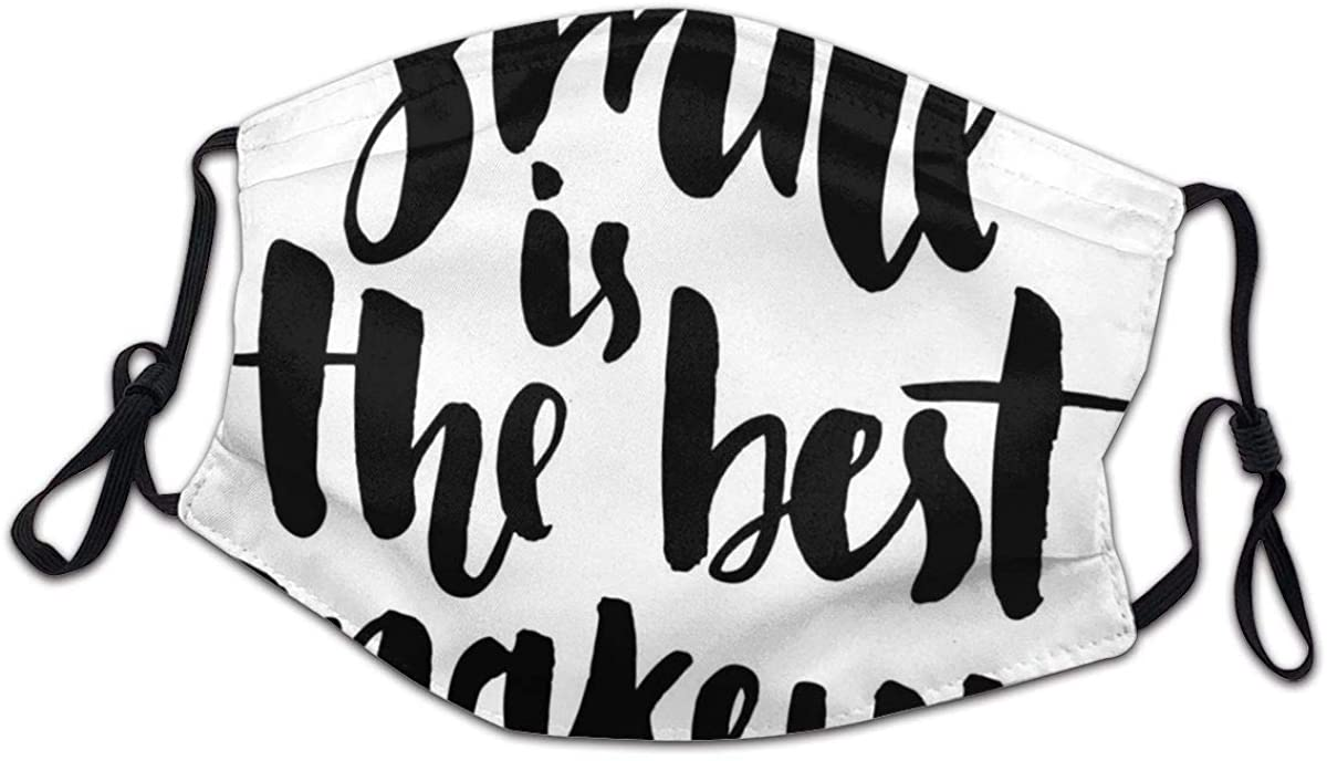 Smile is The Best Makeup Inspirational Phrase Hand Written Daily Motivations Child Kids Mask with Filter Breathing Mask Uv Protection Health Dust Masks Suit for Schools Black