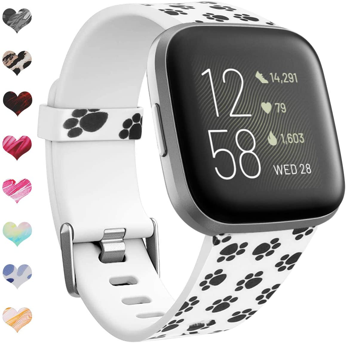 Floral Bands Compatible with Fitbit Versa 2 / Versa/Versa Lite Edition Sport Bands Soft Silicone Floral Fadeless Pattern Printed Strap Replacement Wristband for Women Men 6661023 (#4,Size Large)
