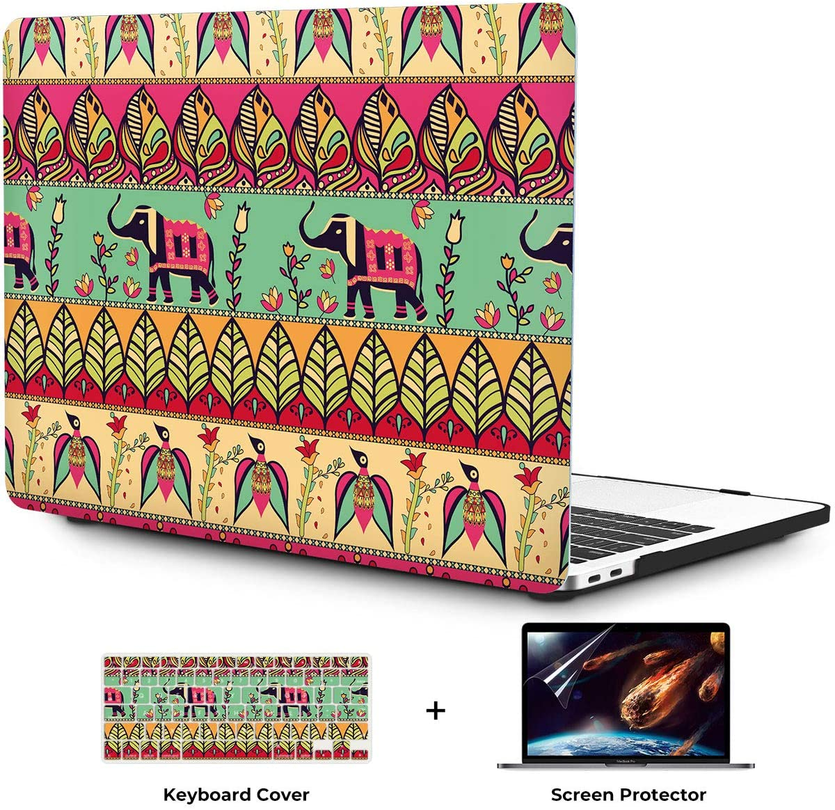 OneGET MacBook Air 13 Inch Case 2018 Laptop Case MacBook Air 13 inch Release A1932 Computer Case Hard Shell Cute MacBook Air 13 Case with Touch ID Bohemia Elephant (G10)