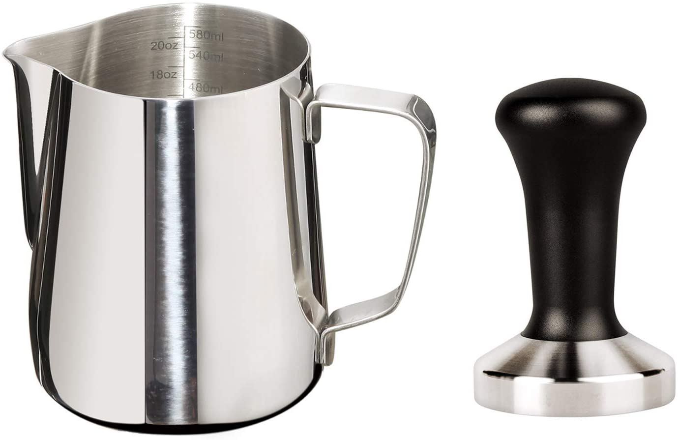 Joytata 20oz Milk Frothing Pitcher 51mm Stainless Steel Espresso Tamper Set-Milk Pitcher with Measurement Scale,Stainless Steel Steam Pitcher Coffee Tamper Set Perfect for Espresso Machine-Froth Cup
