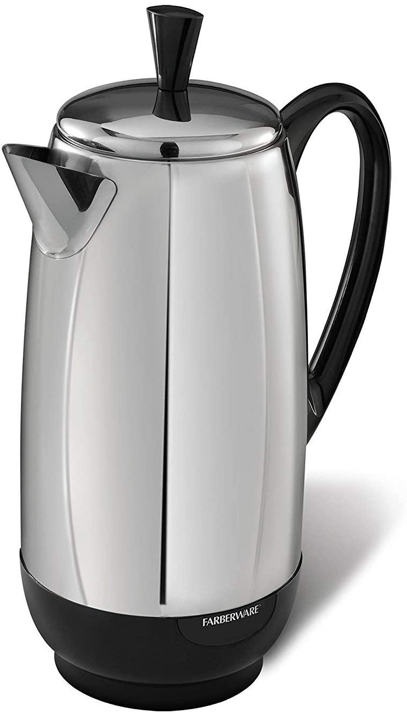Farberware FCP412 1000 Watt 12-Cup Percolator, Stainless Steel