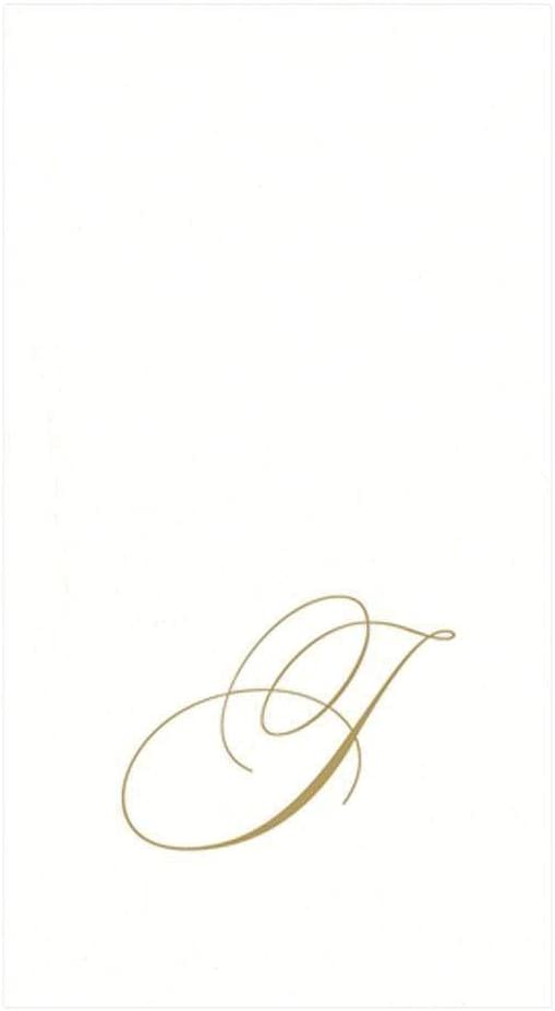 Caspari White Pearl & Gold Paper Linen Boxed Guest Towel Napkins in Letter J - Pack of 24