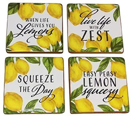 Ceramic Lemon Design Drink Coasters, Set of 4, 4