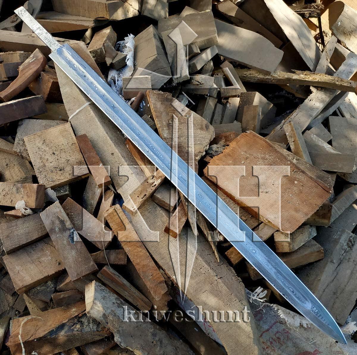 SK-Knives Damascus Knife Custom Handmade - 30 Inches Damascus Steel Sword Blank Blade