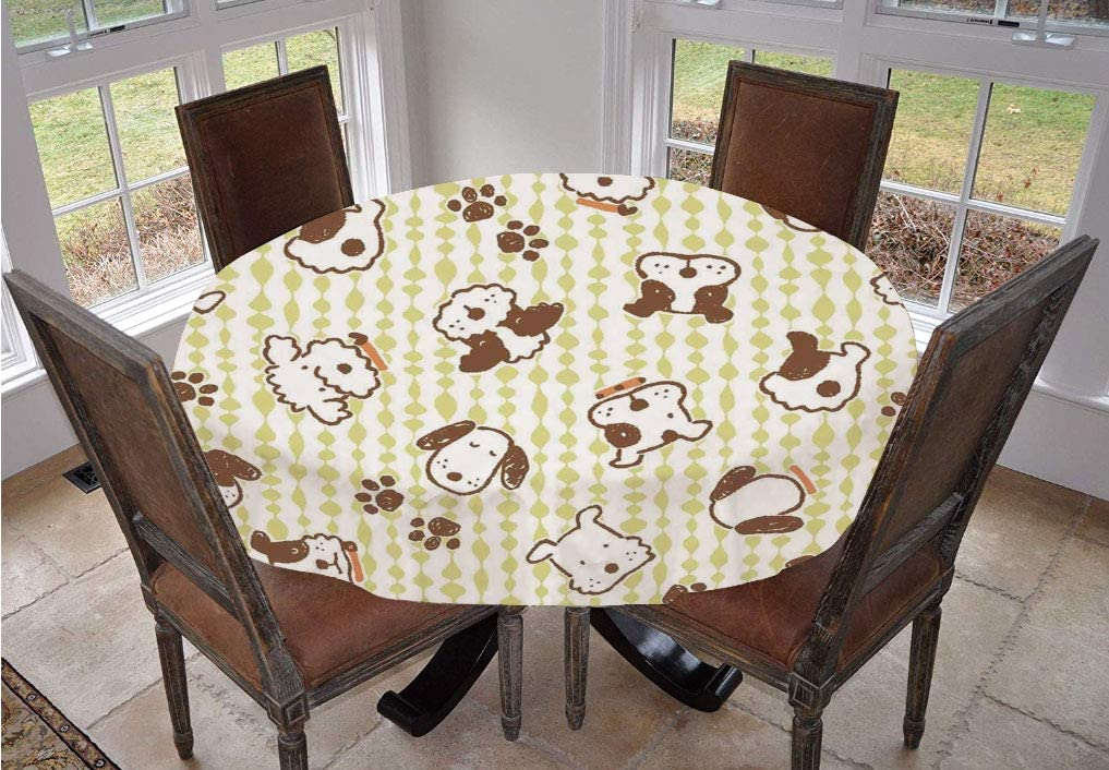 Kids Round Tablecloth,Modern Pattern with Puppy Dogs and Paws Doodle Style Print Home and Party Decorations Decorative Polyester Table Cover,48 Inch,for Holiday Home Christmas Party Picnic White Green