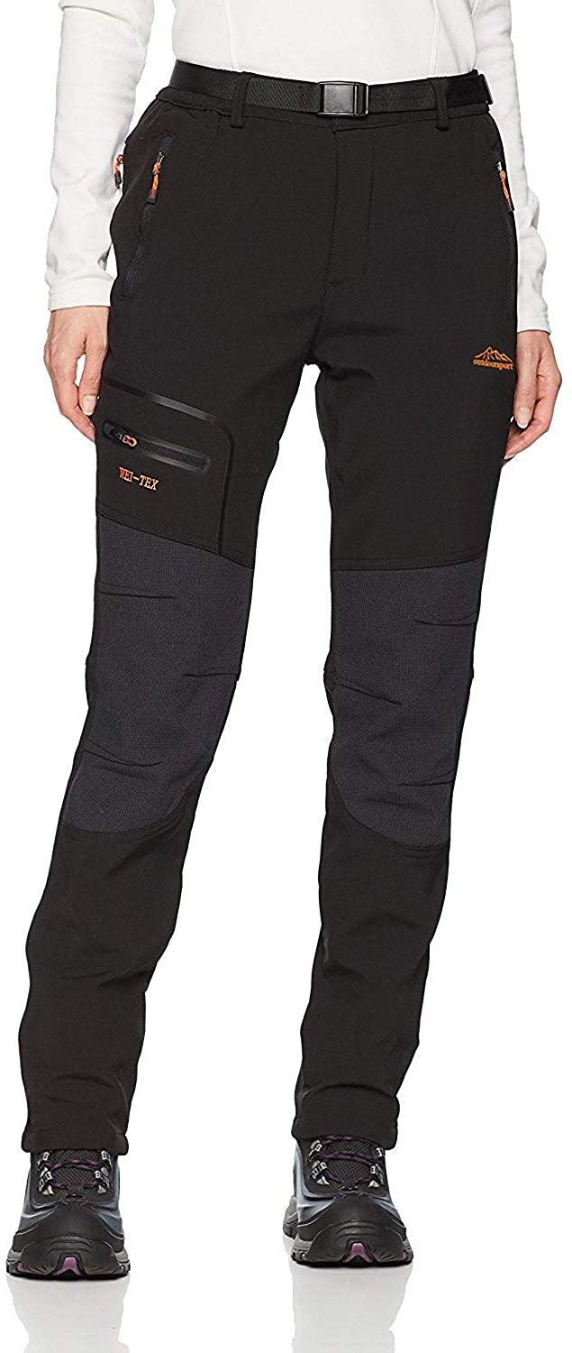 Cool walker Women Outdoor Waterproof Hiking Pants Windproof Fleece Lined Snow Ski Pants