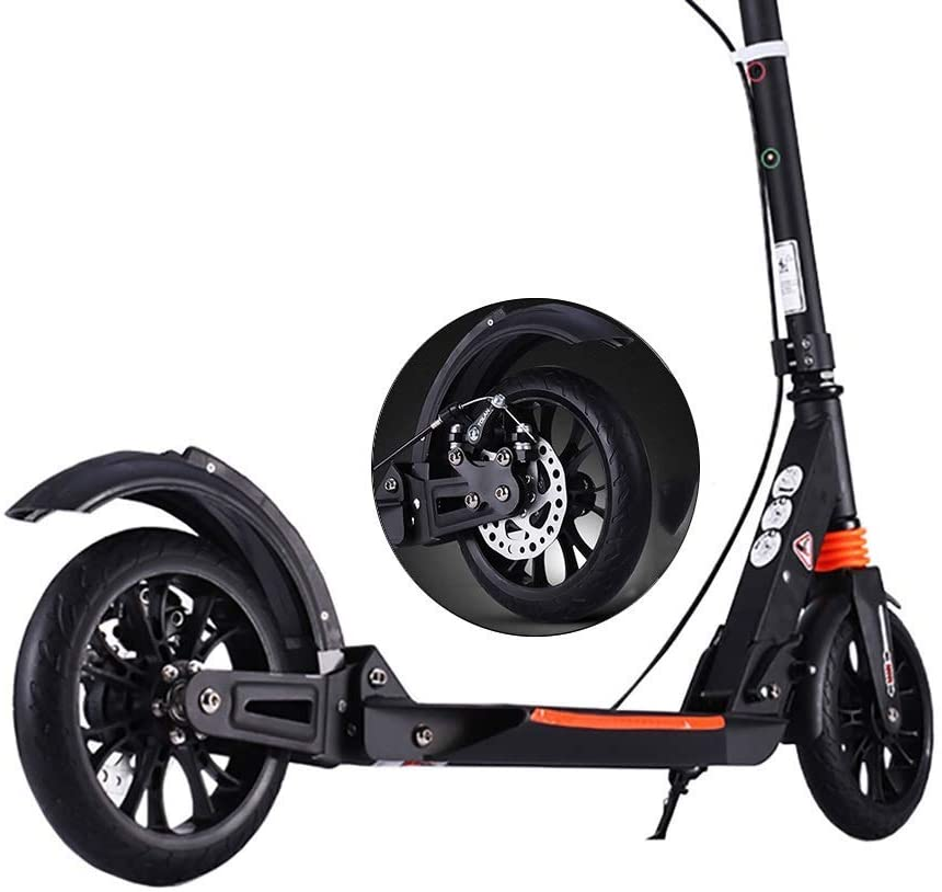 PLLP Foldable Kick Scooter for Adults Teens, Commuter Scooter with 2 Big Wheels Aluminum Alloy Fram Dual Suspension, Support 150Kg