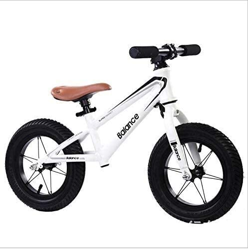 ZHANGZHANG Child Balance Bike,Seatpneumatic Tire Sliding Walker Ultralight No Pedal Adjustable 2-6 Years Old (12 Inch) 0811 (Color : White)