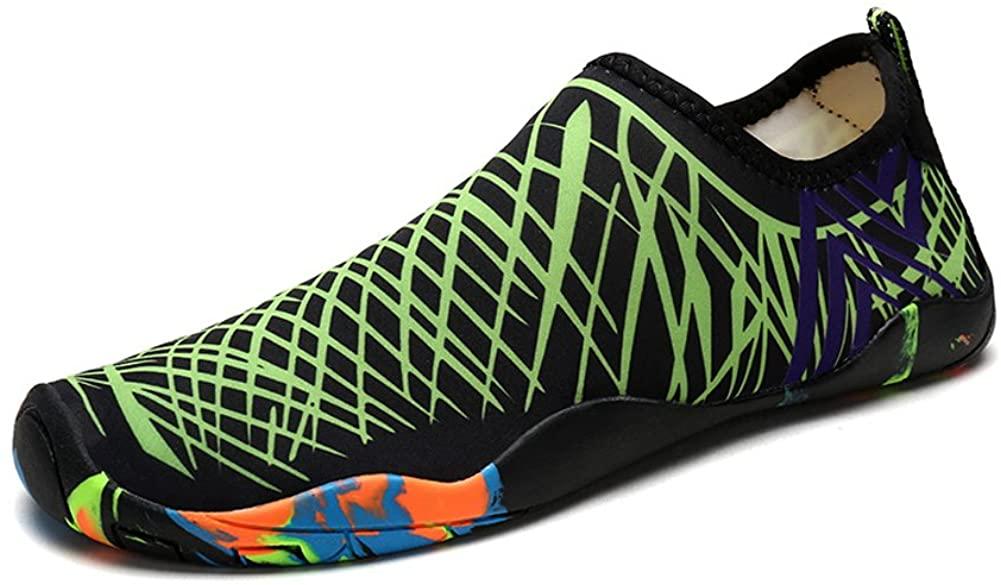 Water Shoes for Women Men,DENATER Barefoot Aqua Socks Quick-Dry Swim Shoes for Beach Pool Diving Snorkeling Surf-16 Drainage Holes (39/7 us Women/5 us Men, Green)