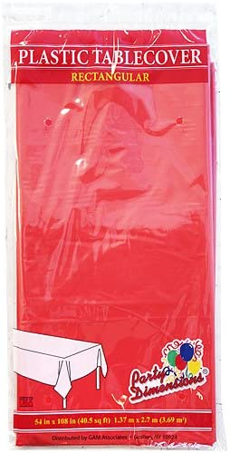 Party Dimensions Plastic Cover-54x108 | Rectangular | Red Table Cover