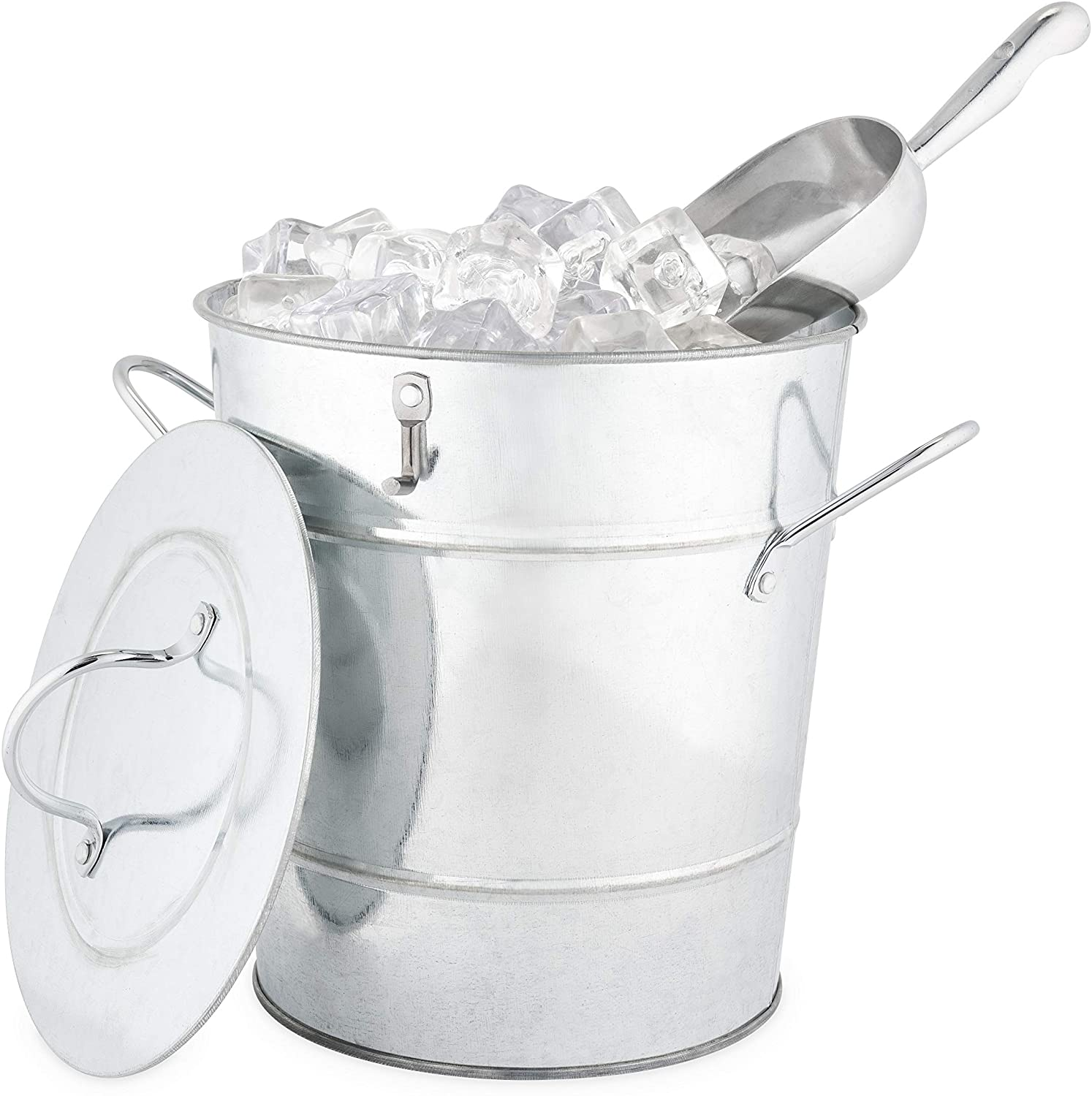 Twine Country Home Galvanized Bucket with Lid and Ice Scoop Stainless Steel, 10.5