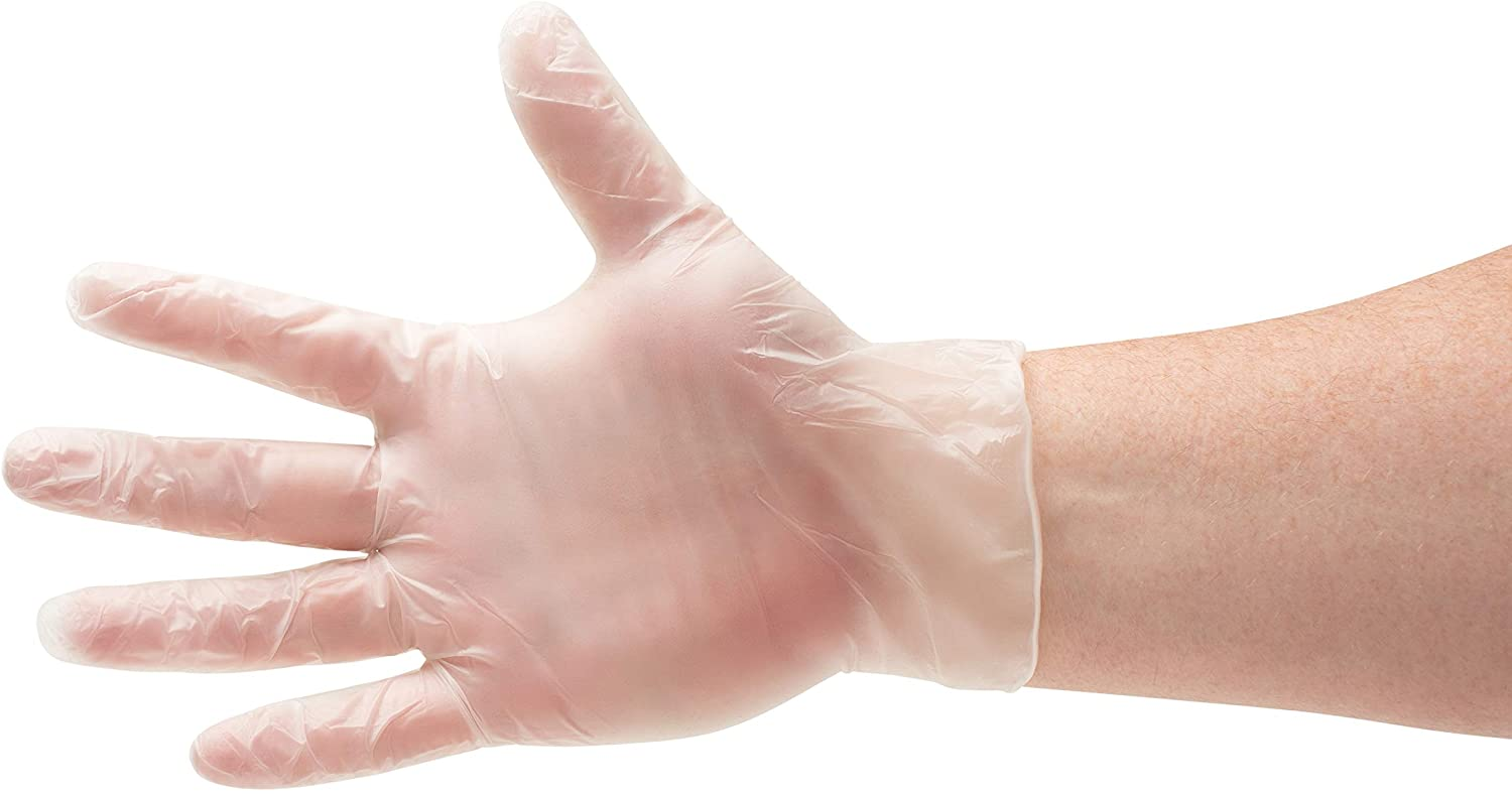 Disposable Food Service Gloves, Vinal Cooking Gloves, Clear, Size Large, 2.0 Mil Thick, 200 Pack