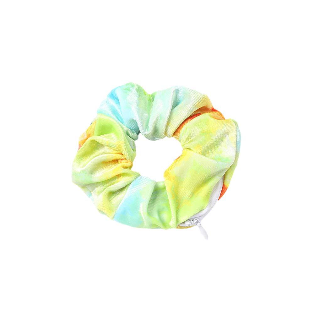 NNIOV HiddenZipper Scrunchies Pocket, Velvet Chiffon ElasticHair Ties, Bracelet, Perfect for Festivals, Concerts, Working out, Key Money Lipstick Storage Stash Bag (TIE DYE YELLOW GREEN)