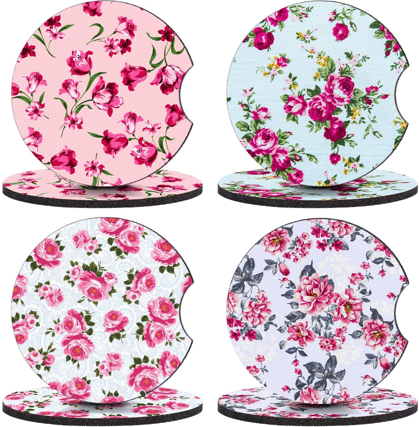 Boao 8 Pieces Floral Car Coaster Flower Printed Neoprene Car Cup Holder Coasters Cupholder Mug Coaster Royal Spring Flower Drink Cup Mat for Vehicle Car Accessories, 2.56 Inch