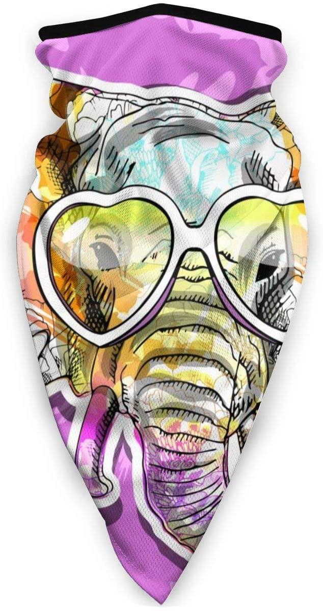 Love Animal Cute Animl Elephant Floral with Heart Glasses, Purple Half Face Mask Balaclava Women Men Ski Mask Bandana for Cycling
