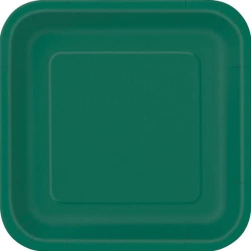 Pack of 14 x FOREST GREEN Square Paper Plates (9