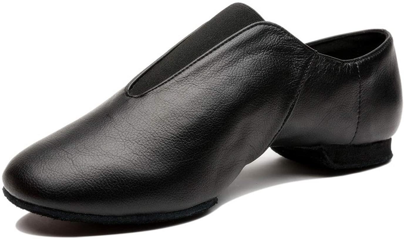 Mrsdressshop Unisex Leather Upper Jazz Ballet Dancing Shoes Slip-on for Girls and Boys-Toddler/Little Kid/Big Kid