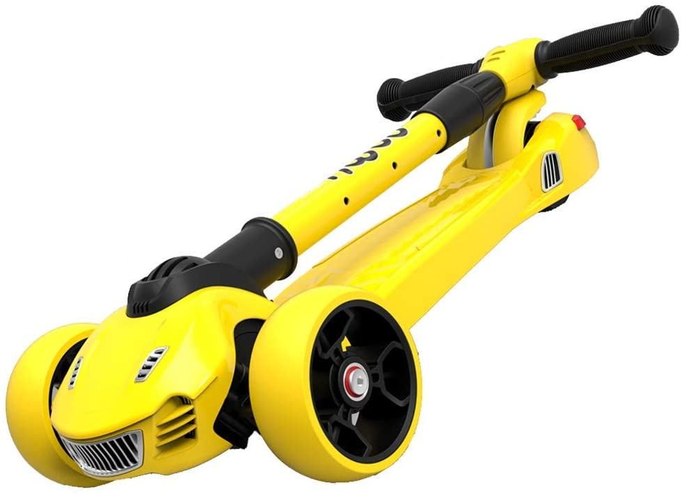 PLLP Outdoor Sports Scooter Kick,Foldable Toddlers Kick with Adjustable Handle, Anti-Slip Wide Pedal Board with Pu Light up Wheel, 80Kg Capacity Adult Child Toy Balance Car Mini,Yellow