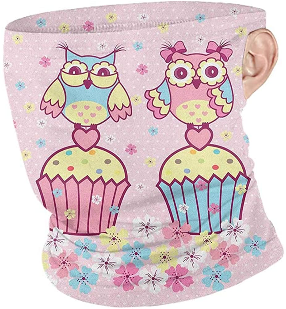 Headwrap Summer Owls Two Owl Couples on Cupcakes Springtime Happiness Romantic Children Art,Unisex Seamless Rave Bandana Pale Pink Sky Blue Yellow 10 x 12 Inch