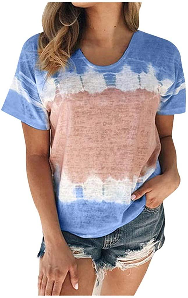 Women's Plus Size Tie-Dye Short Sleeve T-Shirt Summer Crew-Neck Casual Tee Tops(S-5XL)