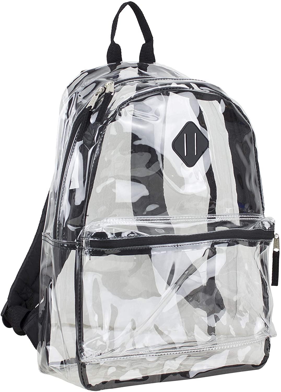 Eastsport Fully Transparent Clear Backpack with Front Pocket, Adjustable Straps and Lash Tab, Black Trim