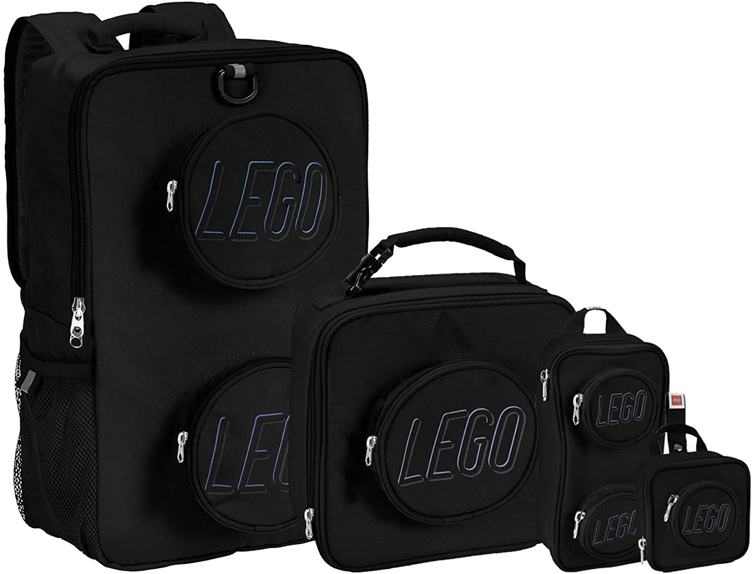 LEGO Kids Brick Backpack, Lunch, Mini Backpack & Pouch 4 Piece Set-Black, One Size