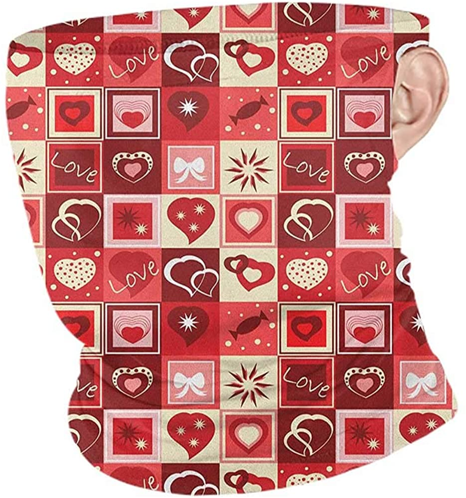 Bandana Summer Red Valentines Day Themed Frames Collection with Hearts Stars Love Lettering and Candy,Tactical Neck Tubes Red Coral Beige 10 x 12 Inch