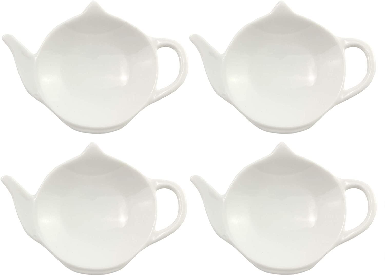 White Ceramic Tea Bag Coasters — Spoon Rests; 4-Pack Classic Teabag Caddy Holder Saucer Set