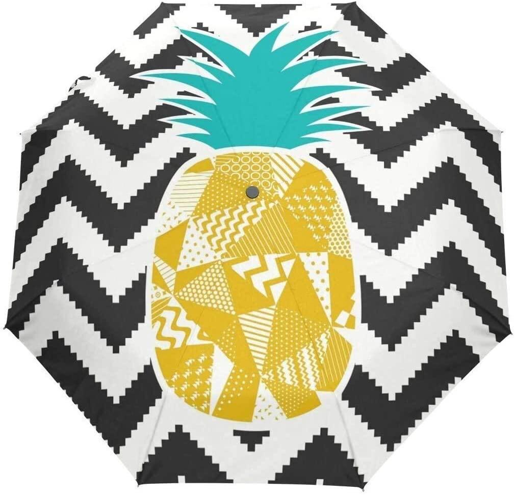 ASDF Automatic Umbrellas Geometrical Pineapple Chevron Anti-Slip Windproof Compact Rain Umbrella for Women Men