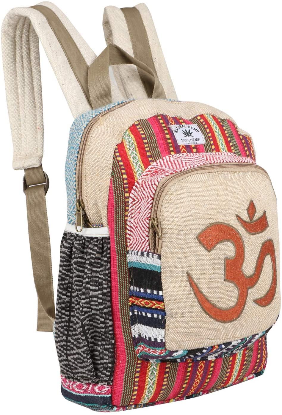 A Cute All Natural Handmade Himalayan Hemp Backpack/Traveler Bag, A Great Product- OM Designed