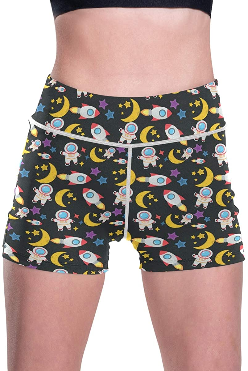 SLHFPX Cosmos Space Spaceman Moon Womens High Waisted Gym Workout Shorts Butt Lifting Hot Pants