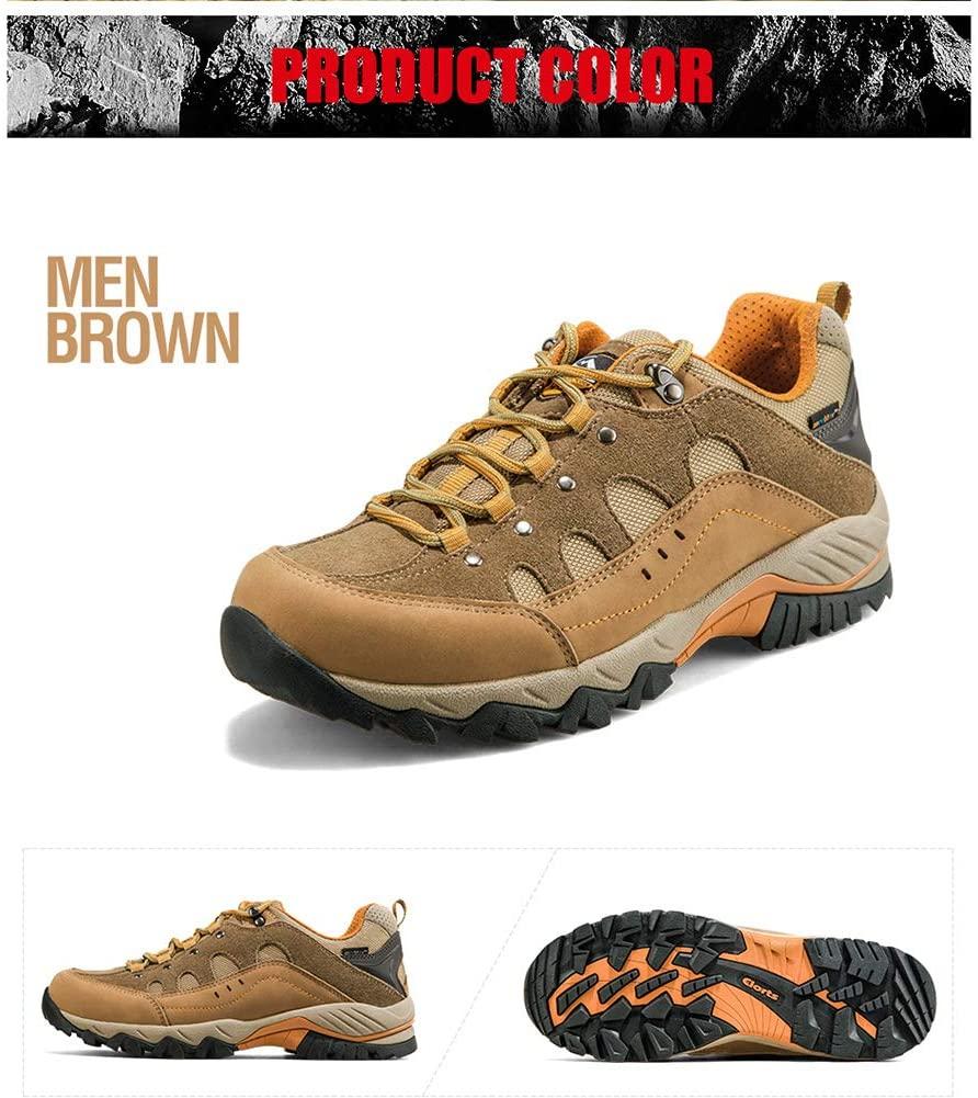 Mens Hiking Shoes Outdoor Sneaker Light Anti-Slip Damping Warm for Trekking Camping Outdoor Men Women,Brown,35