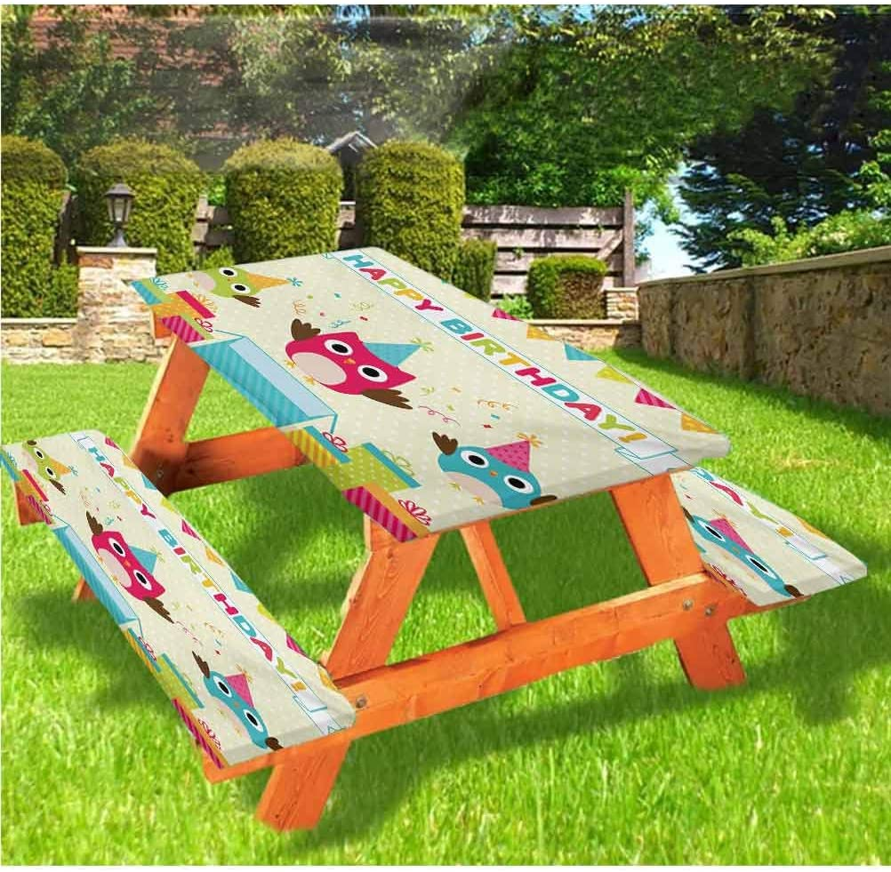Kids Birthday Picnic Table & Benches Cover,Happy Chubby Baby Owls Flags Box on Polka Dots Backdrop Celebration Print 72