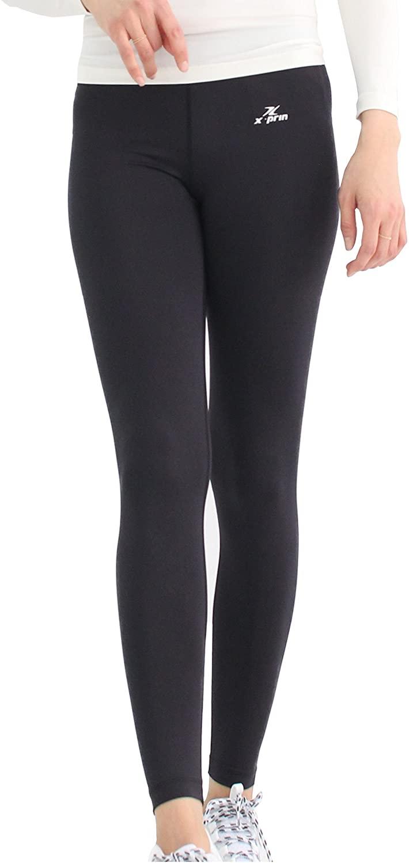 XPRIN A500 Series Women's Long Bottom Pants Base Layer Compression Sports Wear Rash Guard uv 97.5% (M, A501 Black)