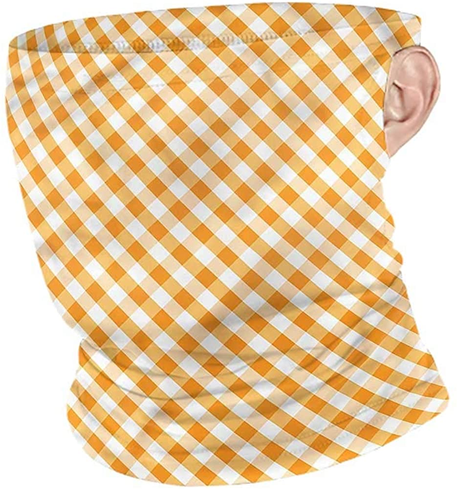 Headband Checkered,Orange Gingham Tile Ski Tube Scarf